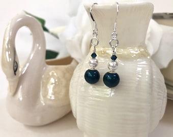 Teal Blue Crystal Drop Earrings for Women, Navy Blue Earrings, Swarovski Pearl Earrings, Sterling Silver Dainty Drop Earrings