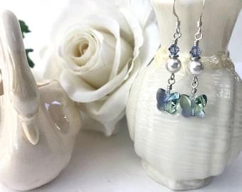 Lavender Crystal Butterfly Earrings, Mothers Day Gift, Sterling Silver Pearl Earrings, Swarovski Crystal Jewelry for Women