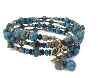 Boho Blue Agate Wrap Bracelet for Her, Lotus Charm Bracelet, Bohemian Beaded Bracelet Birthday Gift for Mom, Boho Bracelet Unique Jewelry