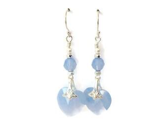 Light Blue Dangle Earrings Birthday Gift for Her, Wedding Heart Earrings Girlfriend Gift, Crystal Drop Earrings Beaded Silver Earrings, Mom