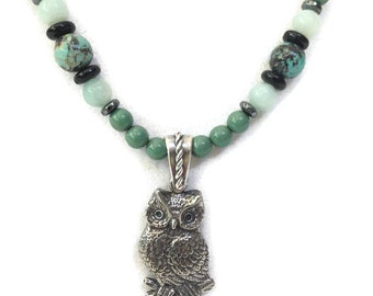 Owl Pendant Necklace Gift for Mom, Boho Green Turquoise Amazonite Beaded Necklace & Earrings, Bohemian Beaded Jewelry Birthday Gift for Her