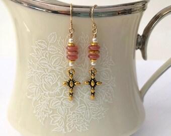 Pink Beaded Dangle Earrings, Gold Cross Earrings for Women, Peach Dainty Drop Earrings, Mothers Day Gift, Christian Jewelry