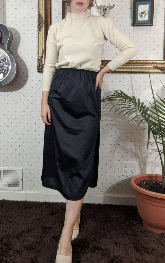 Satin Mid Length High Slit Slip Skirt