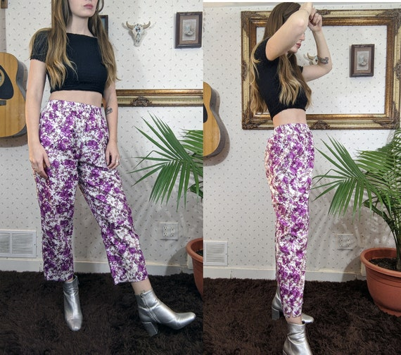 1990's High Waist Cotton Floral Pants