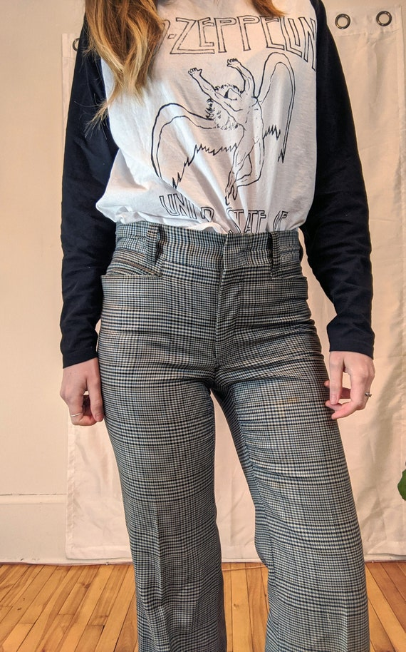 1970s Houndstooth Bell bottom pants