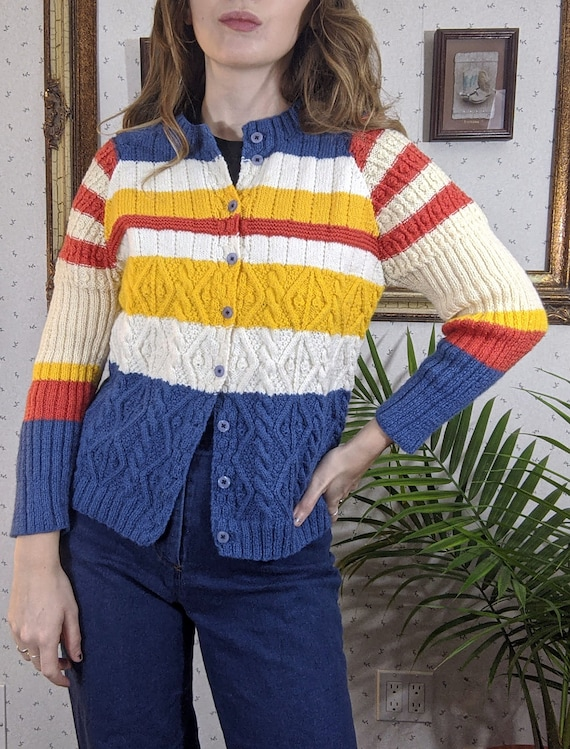 1970's Stripe Cable Knit Cardigan Sweater