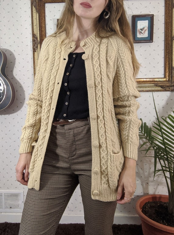 1970s Beige Wool Knit Cardigan