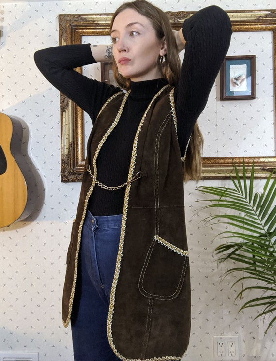 1970's Brown Mid Length Suede Vest