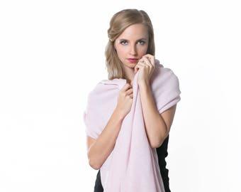 Anna Kristine Pure 100% Cashmere Pale Rose Oversized Wrap