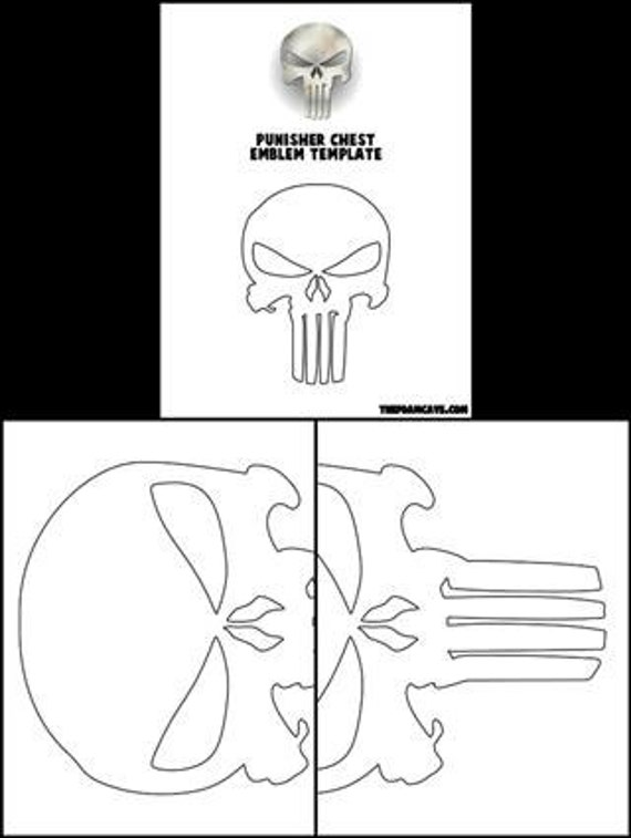 template for punisher chest emblem etsy