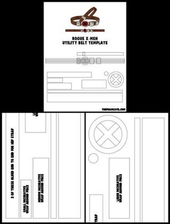 template for rogue x men utility belt etsy