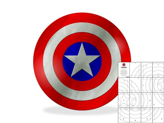 Template for Simple Flat Captain America Shield   Etsy