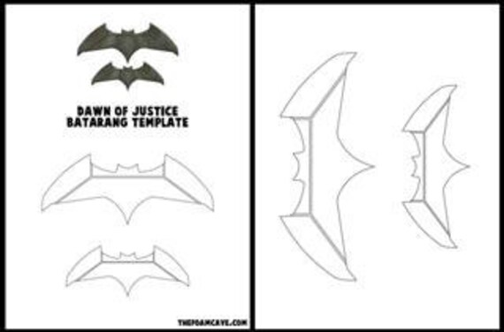 template for dawn of justice batarang etsy