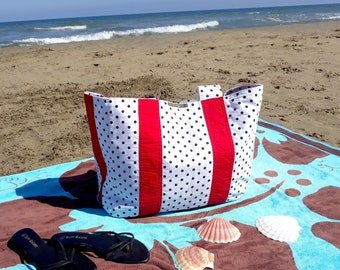 Beach bag large, white, black spotted, reversible, with multiple pockets