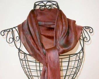 Dark red, soft and fine silk, unique scarf