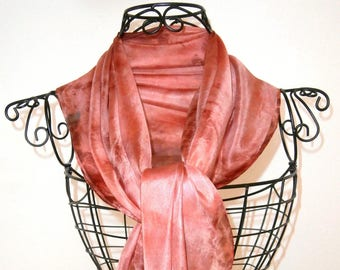 Light Burgundy, soft and fine silk, unique scarf