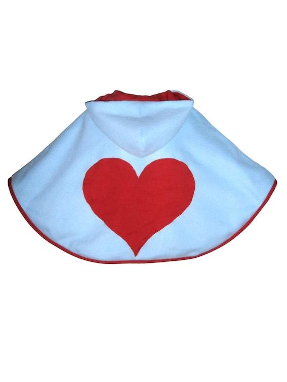 cape 3 4 ans fille polaire bleu b b gros c ur rouge cousu etsy. Black Bedroom Furniture Sets. Home Design Ideas
