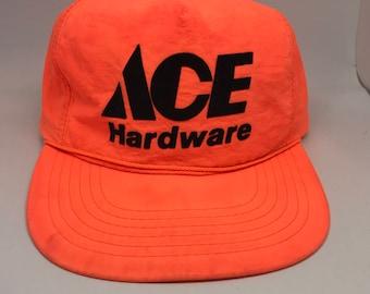72bb41cb221e9 VTG Ace Hardware Lightweight neon orange snapback hat