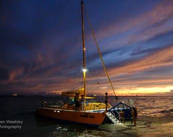 Sunset Boat At Waikiki Beach