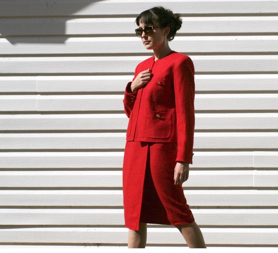 Red Silk 80s Ladies Power Suit