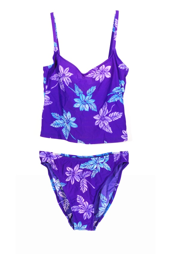 90s Hawaiian Tropical Tankini! Purple Surfer Girl