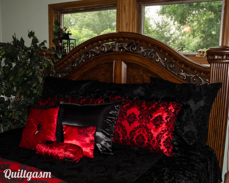 Gothic King Size 11 Piece Velvet Bedding Set Black Taffeta