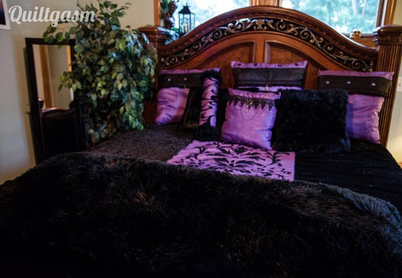 Gothic King 10 Piece Velvet Bedding Set, Black Gothic Bedding