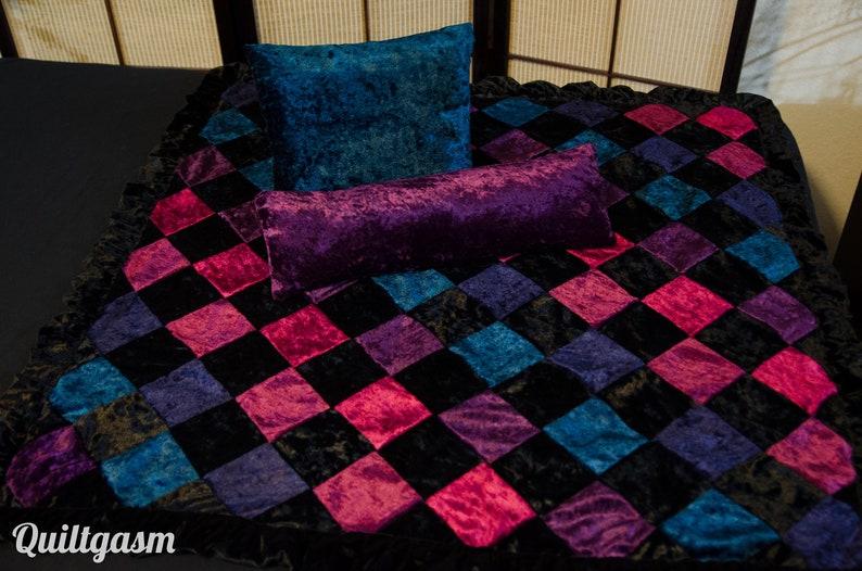 Baby Gothic Rainbow Velvet Patchwork Quilt 3 Piece Set Plush Baby Blanket 33 x 33 Black Velvet Baby Wrap