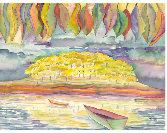 Daydream Giclee Print by Helen Yamada, watercolor print, watercolor palette, water reflections, lake house decor, lake watercolor