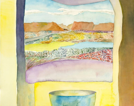 Sunlight in Two Places by Helen Yamada, desert print, desert landscape, southwestern decor, desert watercolor, canyon art, canyon watercolor