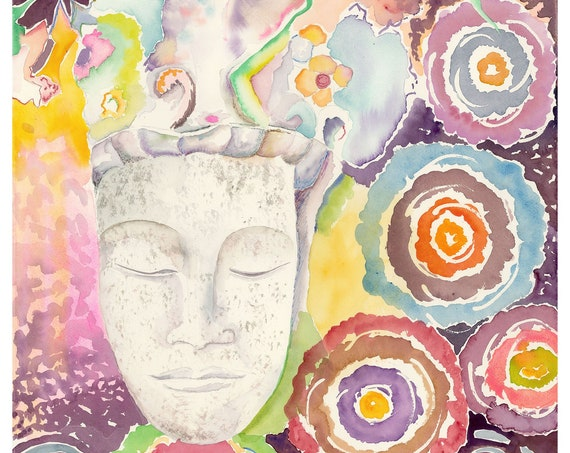 Meditation by Helen Yamada, Buddha art, Buddha watercolor, buddha wall art, zen wall art, meditation art, yoga studio decor, zen decor, zen