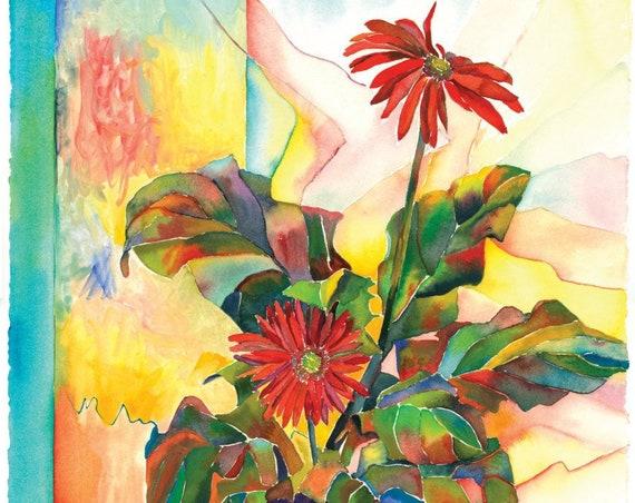 Gerber Daisy Music - Giclee print by Helen Yamada