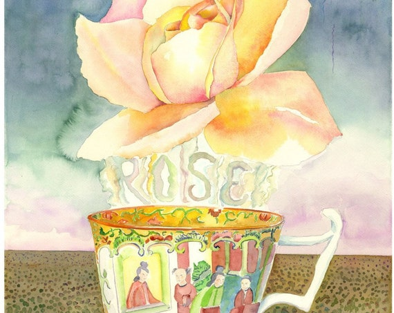 Tea Rose by Helen Yamada watercolor print