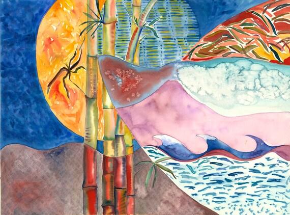 Japanese Wave Moon - Giclee print by Helen Yamada