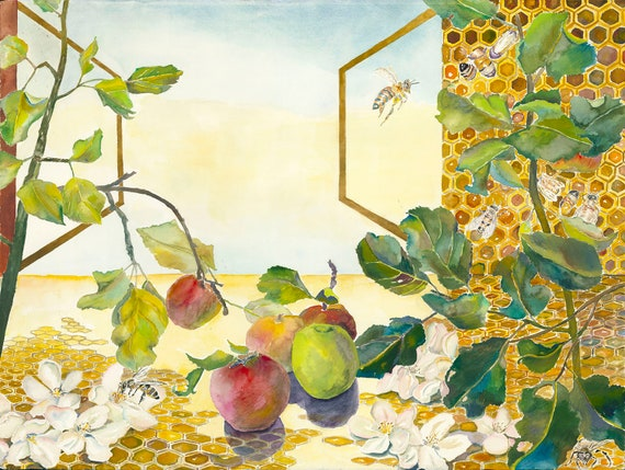 Necessary Dependency Giclee Print by Helen Yamada, honeybee watercolor, apple watercolor, honeycomb watercolor, bee art, honeybee art print