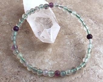 Fluorite Power Mini 4mm Beaded Gemstone Bracelet - Healing Energy Crystal Jewelry - Clear Focus, Calming and Healing Genuine Stone