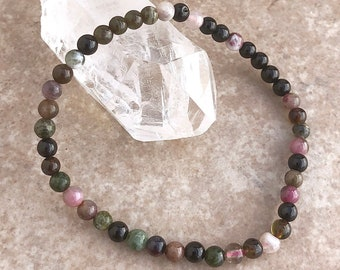 Colored Tourmaline Power Mini 4mm Beaded Gemstone Bracelet - Healing Energy Crystal Jewelry - Cleansing, Purifying and Healing Genuine Stone