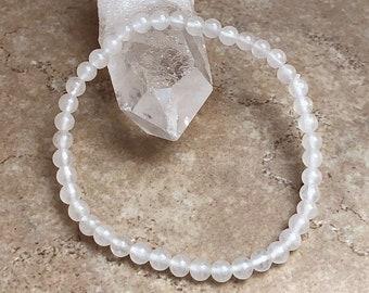 Beaded Gemstone Stretch Bracelet unisex Bracelet Reiki Infused Crystal Quartz Bracelet Mala 4mm Genuine Natural Clear quartz Bracelet