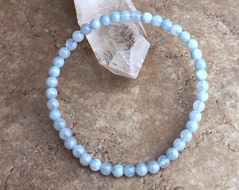 Aquamarine Bracelet Natural Gemstone Blue Aqua Bracelet  in Recycled Silver