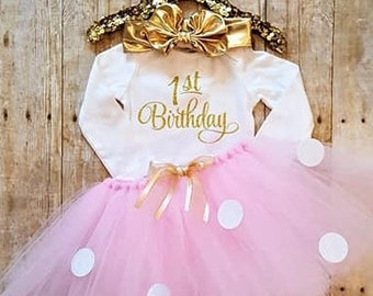 Girls 1st Birthday outfit/first Birthday girls outfit/Birthday girl clothes/smash cake/Birthday tutu outfit/baby girl clothes/1st Birthday