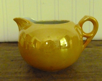 Vintage Yellow Gold Iridescent Glossy Porcelain Creamer - Japan Porcelain Creamer