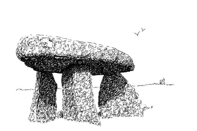 Lanyon Quoit #2 the original pen/&ink drawing reproduced as a 30 x 20cm mounted canvas print.