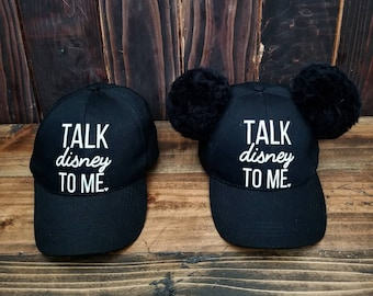 652a5f43dc6 Disney inspired baseball hats - with or without Pom Pom Mouse Ears -  multiple phrases