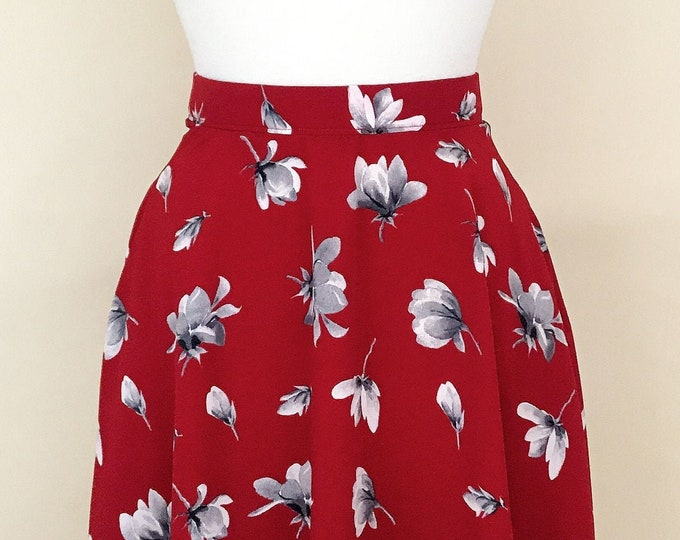 Red Floral Aline Skirt