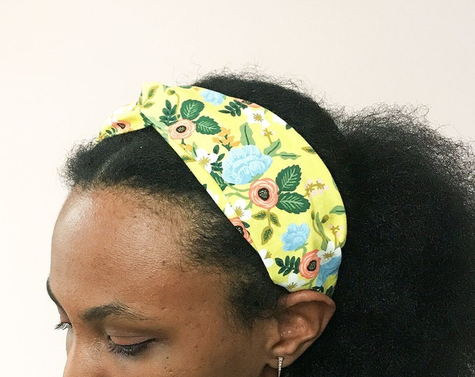 Yellow Floral Twisted Headband