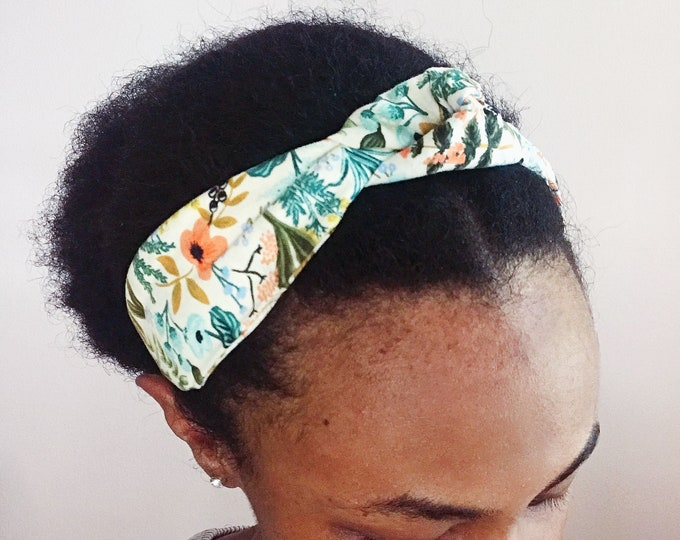 Cream Floral & Herbal Headband