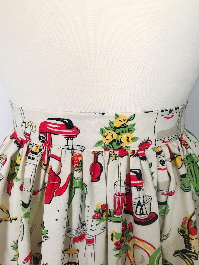 SAMPLE SALE  Retro 50s Inspired Kitchen Novelty Print Skirt image 0