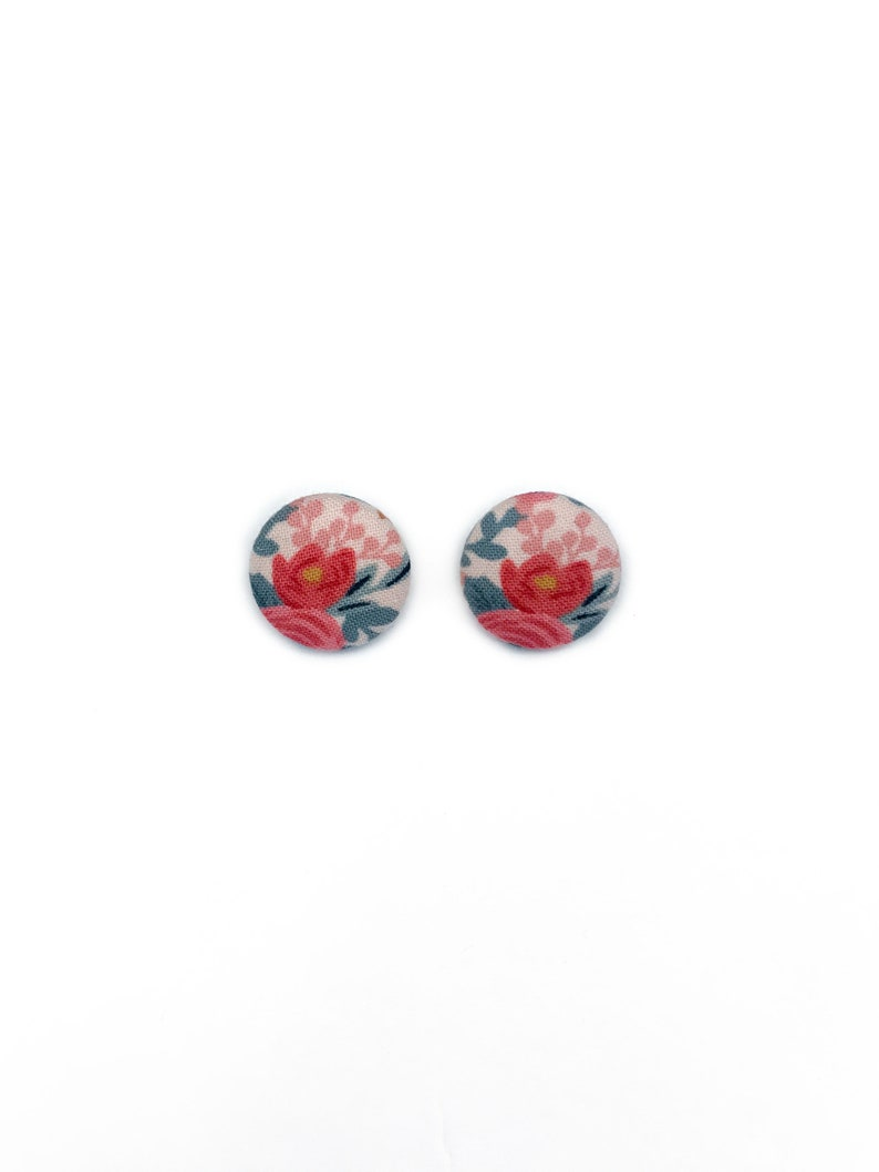 Retro Rifle Paper Co Fabric Rosa Floral Button Earrings image 0