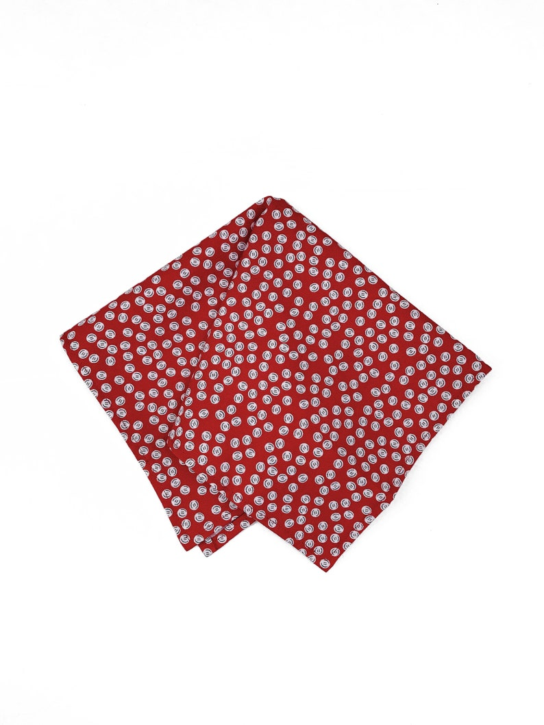 Quirky Red White Buttons Novelty Print Menswear Pocket Square image 0