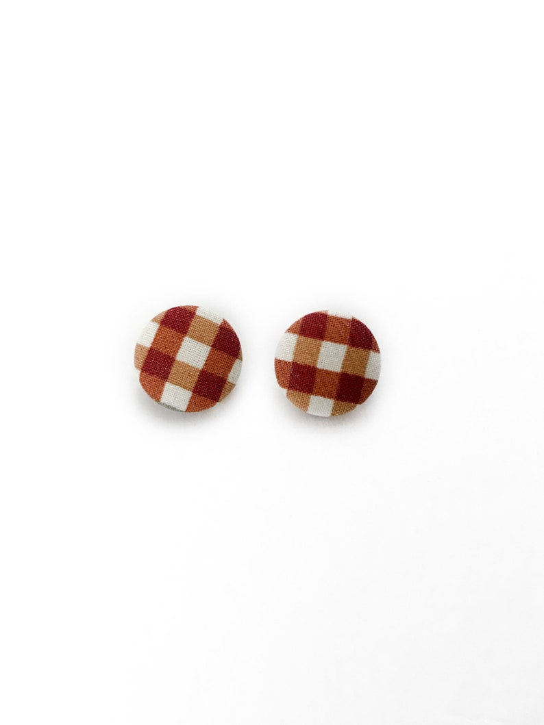 Gingham Harvest Plaid Fabric Post Earrings  Fall Bridesmaid image 0